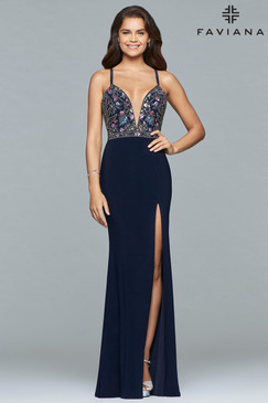 Faviana 10067 Navy Jersey Dress