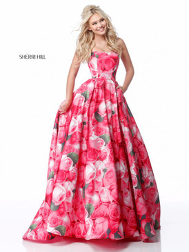 Sherri Hill 51792  Ballgown Floral Print Dress
