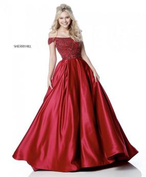 Sherri Hill 51610 Off-the-Shoulder Ballgown Dress