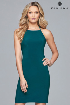 Faviana S10166 Simple Short Halter Dress