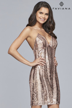 Faviana S10171 Sequin Short Dress