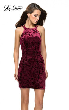 La Femme 26663 Velvet Short Dress