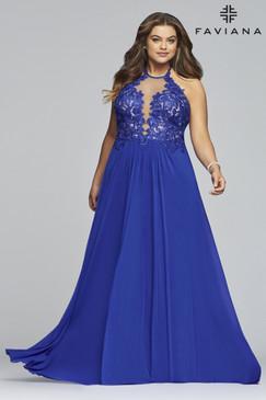 Faviana 9472 Flowy Mesh Dress