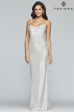 Faviana S10256 Metallic Jersey Dress