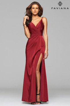 Faviana 7755 Wine Dress