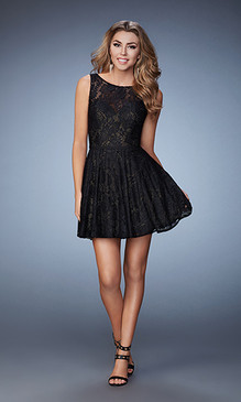 La Femme 23315 Black Lace Dress