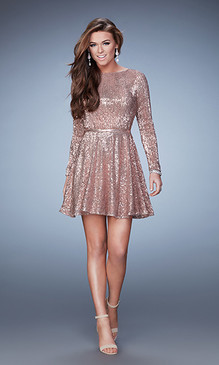 La Femme 23321 Sequin Long Sleeve Dress