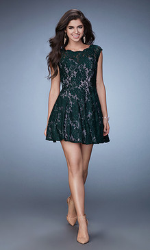La Femme 23467 Lace Short Dress