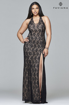 Faviana 9398 Plus Size Lace Dress