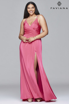 Faviana 9414 Plus Size Satin Dress