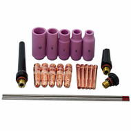 TIG Collet body TIG Back Cap and 2% Thoriated TIG Tungsten Electrode Kit Fit WP 17 18 26 TIG Welding Torch Consumables Accessories 22pcs