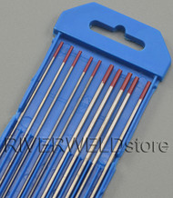 "2% Thoriated Red WT20 TIG Tungsten Electrode Assorted Size 1/16""(5)and 3/32""(5)"