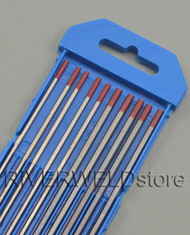 "2% Thoriated Red WT20 TIG Tungsten Electrode Assorted Size 3/32""(5) and 1/8""(5)"