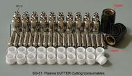 62pcs Plasma CUTTER Cutting Consumables SG-51 50A TIPS1.0