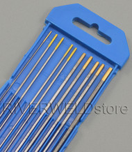 "1.5% Lanthanated WL15 Gold TIG Tungsten Electrodes Assorted Size 0.040""~1/8"",10pk"