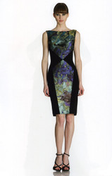 Theia Floral Watercolor Printed Jacquard Sheath