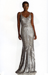 Theia Double Spaghetti Strap Metered Striped Sequin Gown