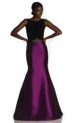 Theia Crepe Top with Seamed Flat Front Mermaid Faille Long Skirt, Jeweled Belt