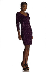 Theia Front and Back Crunchy Sequin Dress