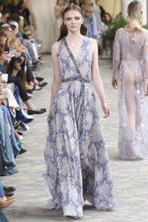 Luisa Beccaria Chiffon Printed Dress With Raffia Detail
