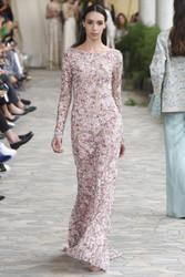 Luisa Beccaria Tulle Embroidered Sheath Maxi Dress