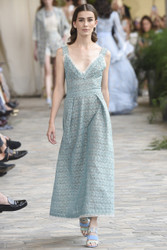 Luisa Beccaria Organza Lurex Eyelet Dress