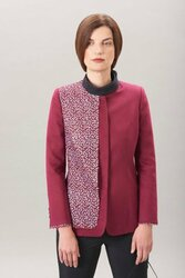 Algo Plum Cashmere Blazer with Paillette Panel