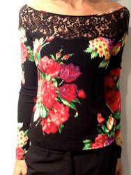 Blumarine Flora Print Lace Top