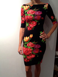 Blumarine Print Knit V-Neck Dress
