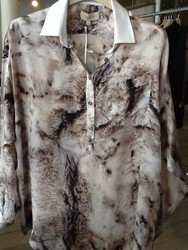 Paul & Joe White Collar Print Blouse