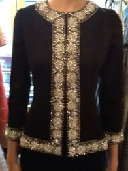 Naeem Khan Crepe Crystal Jacket