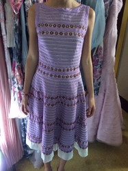 Purple Dress With White Hem