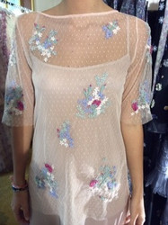 Luisa Beccaria Sheer Floral Dress