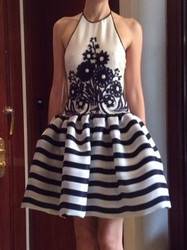 Naeem Khan Black and White Patterned Sleeveless Dress