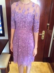 Naeem Khan Purple Sheer Patterned Dress