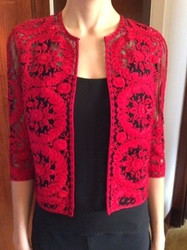 Naeem Khan Red Waist-Length Jacket