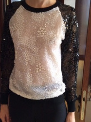 Naeem Khan Black and White Patterned Long Sleeve Blouse