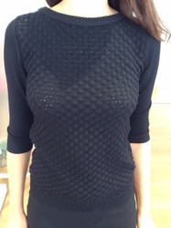 Giorgio Grati Black Patterned Long Sleeve Sweater