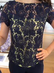 Giorgio Grati Black Floral Sheer Blouse