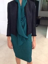 Plein Sud Green Knee Length Dress and Black Waist Coat