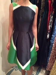 Theia Black Dress with Green and White Highlights