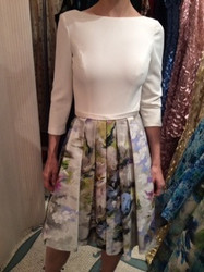 Theia White Long Sleeve Top With Floral Dress