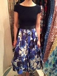 Theia Black Top With Blue Floral Dress