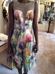 Badgley Mischka Sheer Floral Pattern Dress