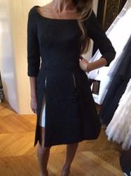 Isabel Sanchis Black Slit Evening Dress