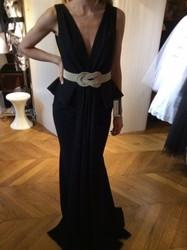 Isabel Sanchis Low Cut Black Evening Dress With White Belt