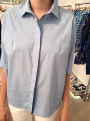 Tara Jarmon Light Blue Short Sleeve Blouse