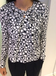 Blumarine Black and White Long Sleeve Blouse