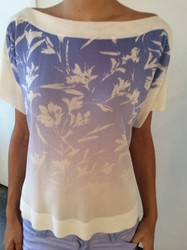 Blumarine Blue and White Short Sleeve Blouse