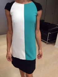 Clips Teal and White Dress
